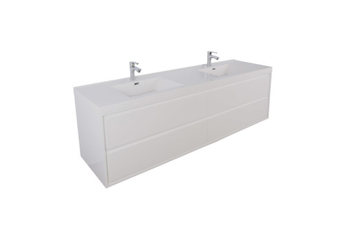 """Molly 84"""" Double Sink High Gloss White Wall Mounted Modern Vanity"""
