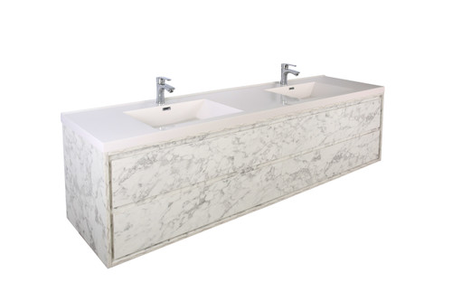 """Molly 84"""" Double Sink Marble Grey Wall Mounted Modern Vanity"""