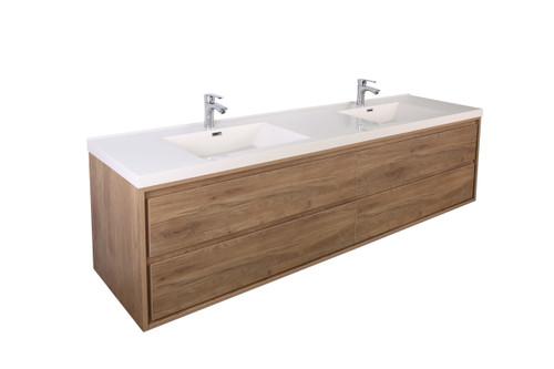 """Molly 84"""" Double Sink Teak Oak Wall Mounted Modern Vanity"""