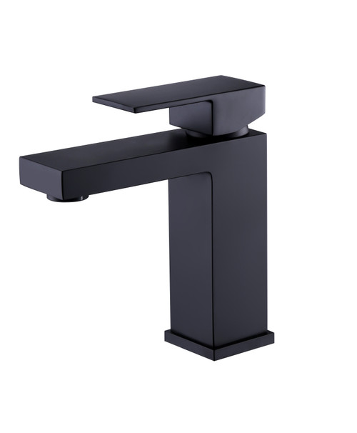 Matte Black Angular Modern Single Lever Faucet