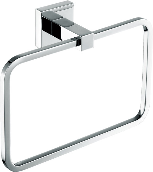 "8"" Chrome Towel Ring with Square Wall Mount"