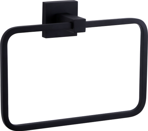 "8"" Matte Black Towel Ring with Square Wall Mount"