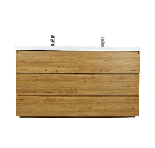 MOA 60″ DOUBLE SINK NATURE OAK MODERN BATHROOM VANITY W/ 6 DRAWERS AND ACRYLIC SINK