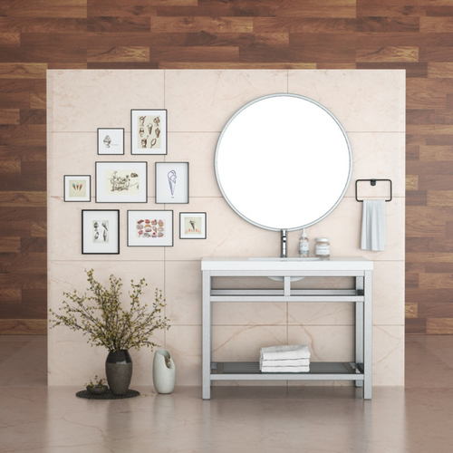 """OTTO 42"""" STAINLESS STEEL CONSOLE W/ WHITE ACRYLIC SINK - BRUSHED NICKLE"""