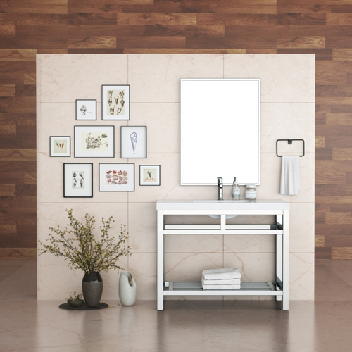 """OTTO 42"""" STAINLESS STEEL CONSOLE W/ WHITE ACRYLIC SINK - CHROME"""