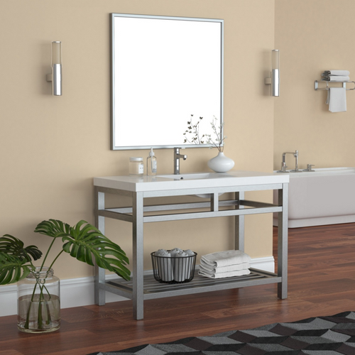 """OTTO 48"""" STAINLESS STEEL CONSOLE W/ WHITE ACRYLIC SINK - BRUSHED NICKLE"""