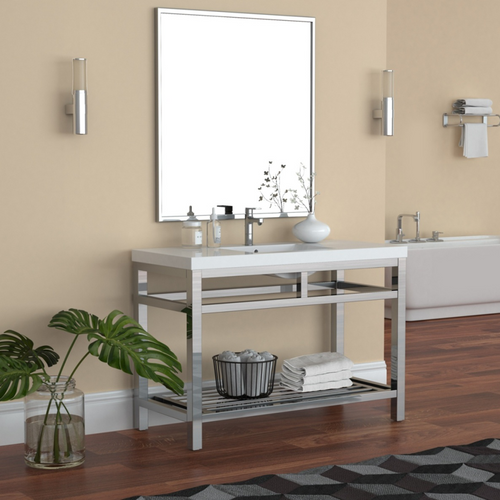 """OTTO 48"""" STAINLESS STEEL CONSOLE W/ WHITE ACRYLIC SINK - CHROME"""