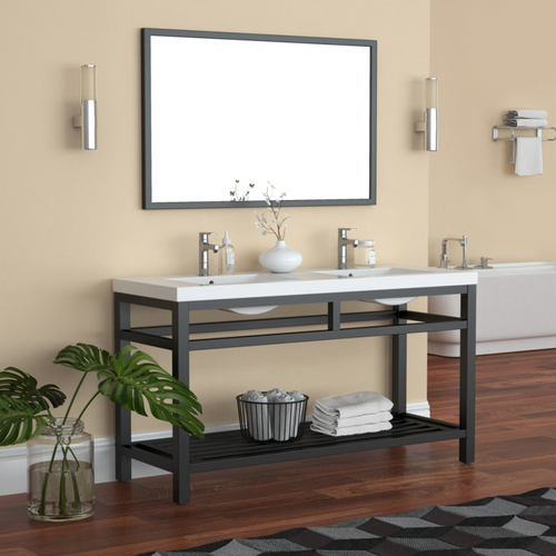 """OTTO 60"""" STAINLESS STEEL CONSOLE W/ WHITE ACRYLIC DOUBLE SINK - BLACK"""
