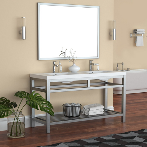 """OTTO 60"""" STAINLESS STEEL CONSOLE W/ WHITE ACRYLIC DOUBLE SINK - BRUSHED NICKLE"""