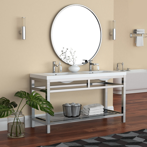 """OTTO 60"""" STAINLESS STEEL CONSOLE W/ WHITE ACRYLIC DOUBLE SINK - CHROME"""