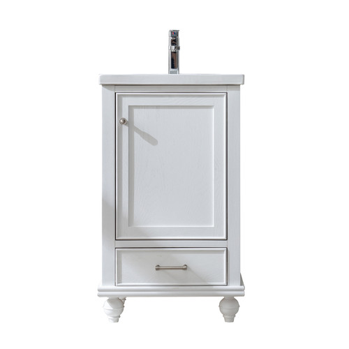 MELISSA 20'' WHITE SOILD VANITY WITH CERMICE COUNTER TOP