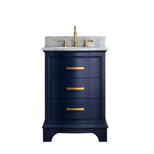 MONROE 24'' NIGHT BULE SOILD VANITY WITH MARBLE COUNTER TOP