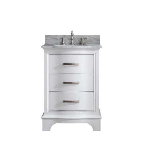 MONROE 24'' WHITE SOILD VANITY WITH MARBLE COUNTER TOP