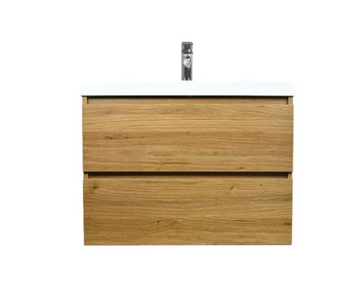 "MORENO MOB 30"" NATURAL OAK WALL MOUNTED MODERN BATHROOM VANITY WITH REEINFORCED ACRYLIC SINK"