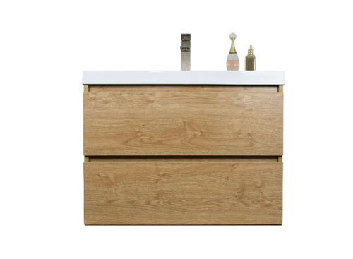 "MORENO MOB 30"" NEW ENGLAND OAK WALL MOUNTED MODERN BATHROOM VANITY WITH REEINFORCED ACRYLIC SINK"