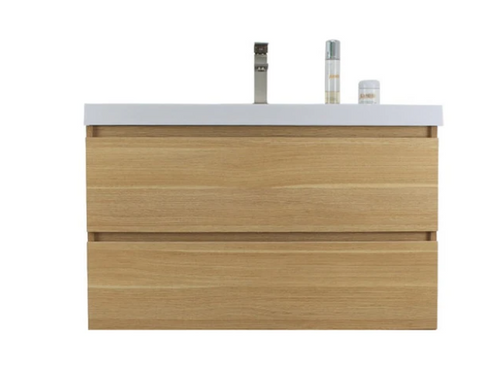 "MORENO MOB 36"" WHITE OAK WALL MOUNTED MODERN BATHROOM VANITY WITH REEINFORCED ACRYLIC SINK"