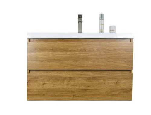 "MORENO MOB 36"" NATURAL OAK WALL MOUNTED MODERN BATHROOM VANITY WITH REEINFORCED ACRYLIC SINK"