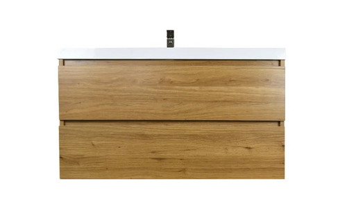 "MORENO MOB 42"" NATURAL OAK WALL MOUNTED MODERN BATHROOM VANITY WITH REEINFORCED ACRYLIC SINK"