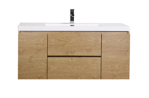 "MORENO MOB 48"" NEW ENGLAND OAK WALL MOUNTED MODERN BATHROOM VANITY WITH REINFORCED ACRYLIC SINK"
