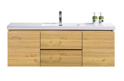 "MORENO MOB 60"" SINGLE SINK NATURAL OAK WALL MOUNTED MODERN BATHROOM VANITY WITH REEINFORCED ACRYLIC SINK"
