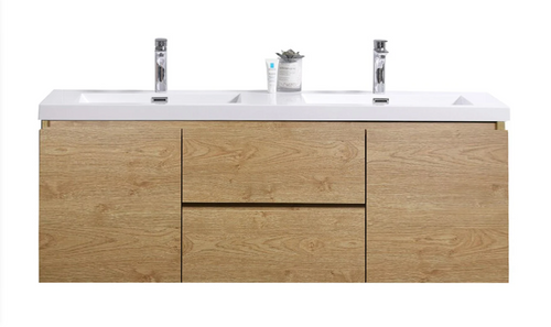 "MORENO MOB 60"" DOUBLE SINK ENGLAND OAK WALL MOUNTED MODERN BATHROOM VANITY WITH REEINFORCED ACRYLIC SINK"
