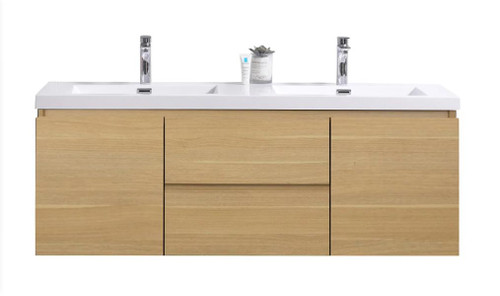 "MORENO MOB 60"" DOUBLE SINK WHITE OAK WALL MOUNTED MODERN BATHROOM VANITY WITH REEINFORCED ACRYLIC SINK"