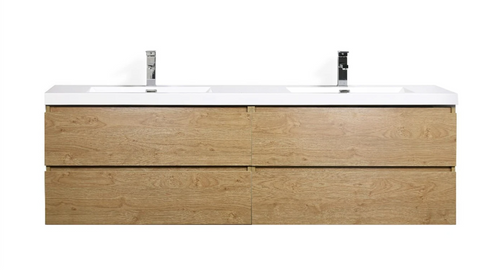 "MORENO MOB 72"" DOUBLE SINK NEW ENGLAND OAK WALL MOUNTED MODERN BATHROOM VANITY WITH REEINFORCED ACRYLIC SINK"