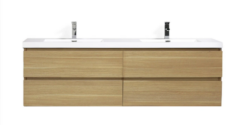 "MORENO MOB 72"" DOUBLE SINK WHITE OAK WALL MOUNTED MODERN BATHROOM VANITY WITH REEINFORCED ACRYLIC SINK"