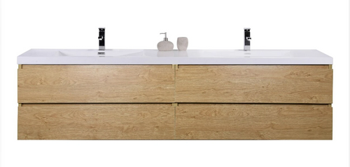 "MORENO MOB 84"" DOUBLE SINK NEW ENGLAND OAK WALL MOUNTED MODERN BATHROOM VANITY WITH REEINFORCED ACRYLIC SINK"