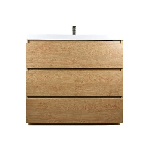 MOA 36'' NEW ENGLAND OAK MODERN BATHROOM VANITY W/ 3 DRAWERS AND ACRYLIC SINK