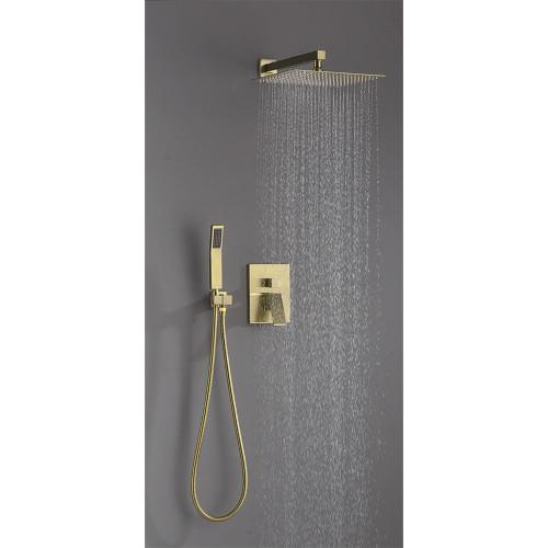 MORENO GOLDEN BRASS SHOWER SET W/ 10″ SQUARE RAIN SHOWER AND HANDHELD