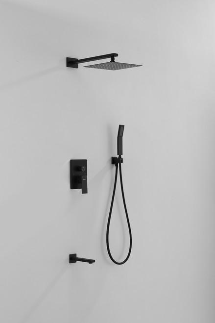 MORENO MATTE BLACK BRASS SHOWER SET W/ 10'' SQUARE RAIN SHOWER AND HANDHELD AND TUB FILLER