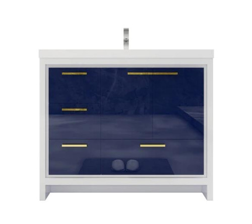 MORENO DOLCE 42″ NIGH BLUE MODERN BATHROOM VANITY W/ LEFT SIDE DRAWERS AND ACRYLIC SINK