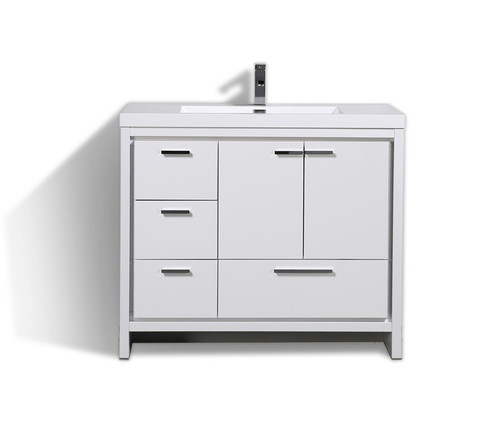 MORENO DOLCE 42″ HIGH GLOSS WHITE MODERN BATHROOM VANITY W/ LEFT SIDE DRAWERS AND ACRYLIC SINK