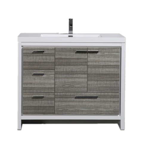 MORENO DOLCE 42″ HIGH GLOSS ASH GREY MODERN BATHROOM VANITY W/ LEFT SIDE DRAWERS AND ACRYLIC SINK