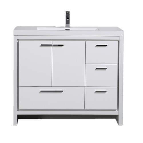 MORENO DOLCE 42″ HIGH GLOSS WHITE MODERN BATHROOM VANITY W/ RIGHT SIDE DRAWERS AND ACRYLIC SINK