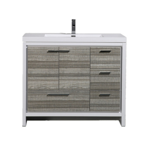 MORENO DOLCE 42''HIGH GLOSS ASH GREY MODERN BATHROOM VANITY W/ RIGHT SIDE DRAWERS AND ACRYLIC SINK