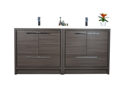 MORENO DOLCE MOD 72'' DARK GREY OAK MODERN BATHROOM VANITY WITH ACRYLIC SINK