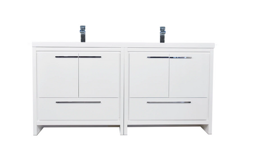 """MORENO DOLCE 72"""" HIGH GLOSS WHITE MODERN BATHROOM VANITY WITH ACRYLIC SINK"""