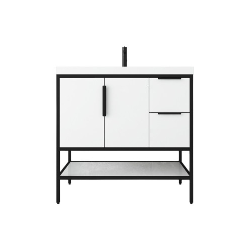"""MATTHEW 36"""" GLOSSY WHITE FREESTANDING VANITY WITH REINFORCED ACRYLIC SINK"""