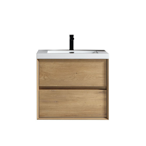 "SLIM 24"" WHITE OAK WALL MOUNTED VANITY WITH REINFORCED ACRYLIC SINK"