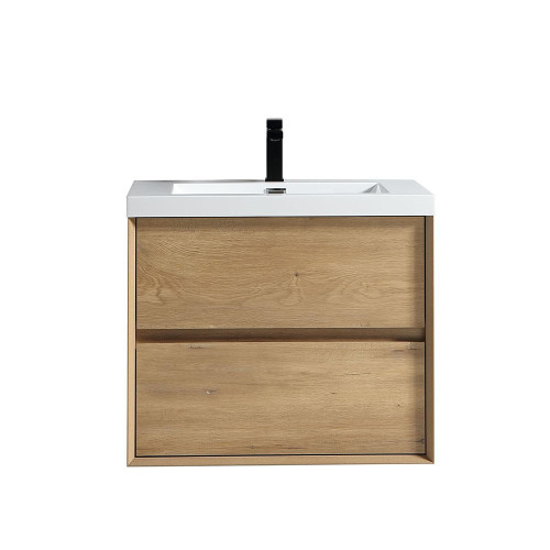 "SLIM 30"" WHITE OAK WALL MOUNTED VANITY WITH REINFORCED ACRYLIC SINK"