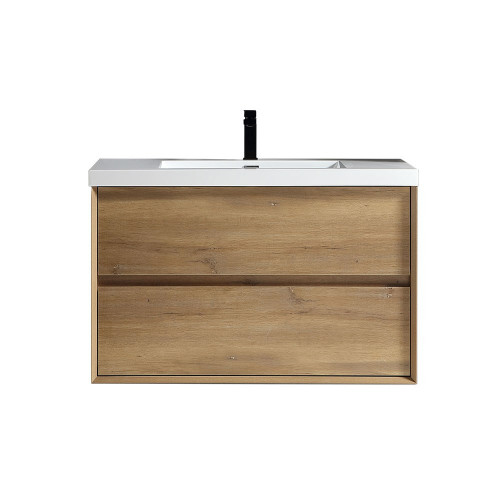 "SLIM 36"" WHITE OAK WALL MOUNTED VANITY WITH REINFORCED ACRYLIC SINK"