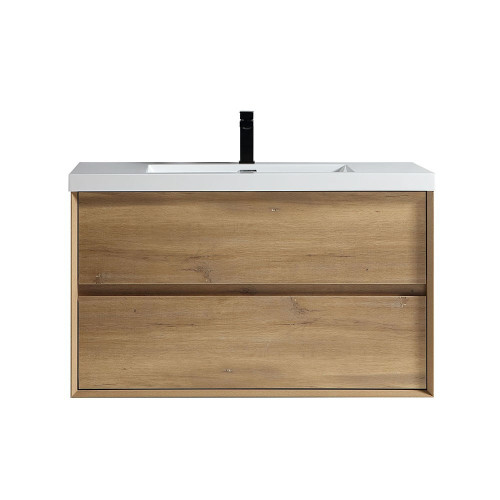 "SLIM 42"" WHITE OAK WALL MOUNTED VANITY WITH REINFORCED ACRYLIC SINK"