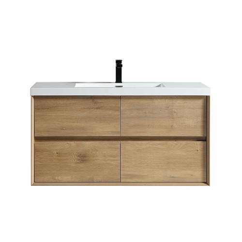 "SLIM 48"" WHITE OAK WALL MOUNTED VANITY WITH REINFORCED ACRYLIC SINK"