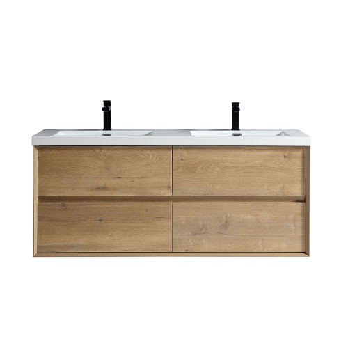 "SLIM 60"" WHITE OAK WALL MOUNTED VANITY WITH REINFORCED ACRYLIC SINKS"