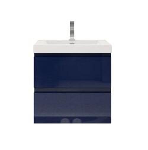 "MORENO MOB 24"" HIGH GLOSS NIGHT BLUE WALL MOUNTED MODERN BATHROOM VANITY"