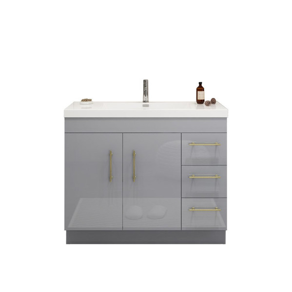 """ELSA 42"""" GLOSSY GRAY FREESTANDING VANITY WITH REINFORCED ACRYLIC SINK (RIGHT SIDE DRAWERS)"""