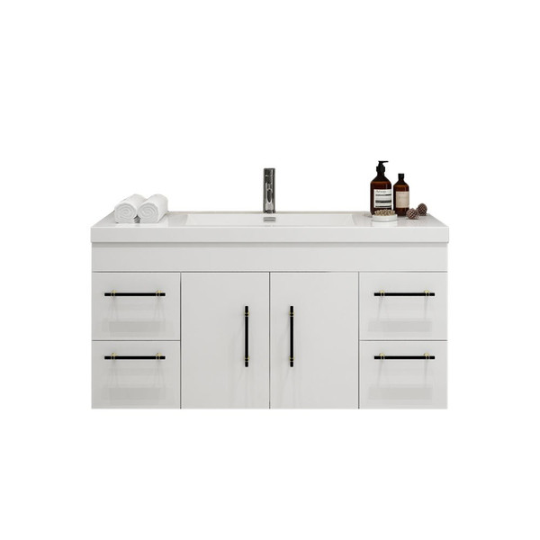 """ELSA 48"""" GLOSSY WHITE WALL MOUNTED VANITY WITH REINFORCED ACRYLIC SINK"""
