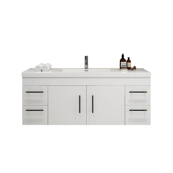 """ELSA 60"""" GLOSSY WHITE WALL MOUNTED VANITY WITH REINFORCED ACRYLIC SINK"""